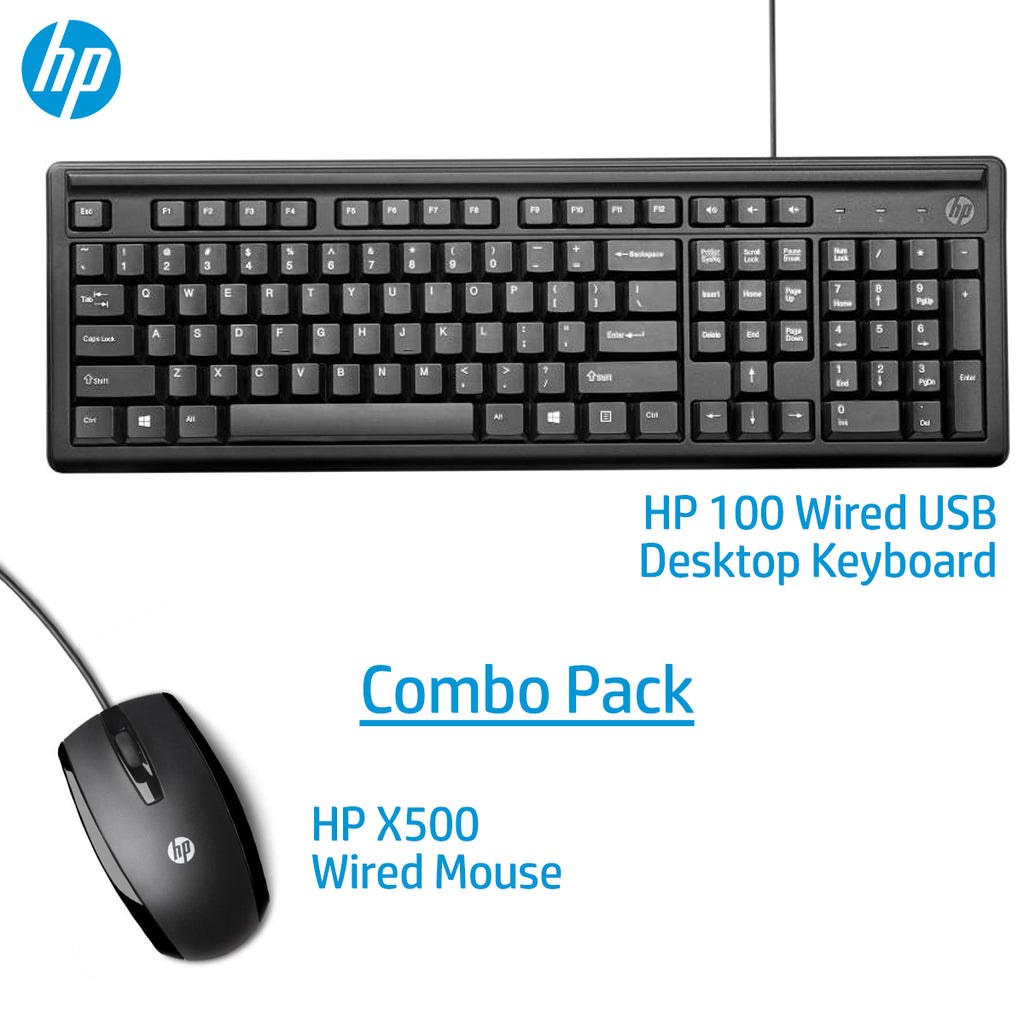 HP USB Wired Combo Keyboard 100 And X500 Mouse