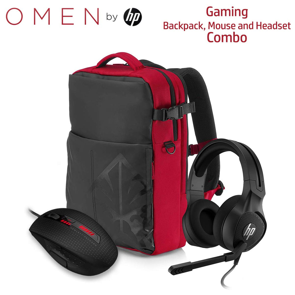 HP Gaming OMEN X9000 Mouse Armored Backpack and Pavilion Headset Combo (J6N88AA, 4YJ80AA, 4BX32AA)
