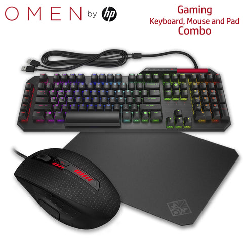 HP OMEN Gaming Combo Sequencer Keyboard X9000 Mouse and Mousepad (2VN99AA, J6N88AA, 2VP01AA)