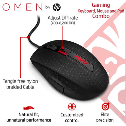 HP OMEN Gaming Combo - Sequencer Keyboard, X9000 Mouse and Mousepad
