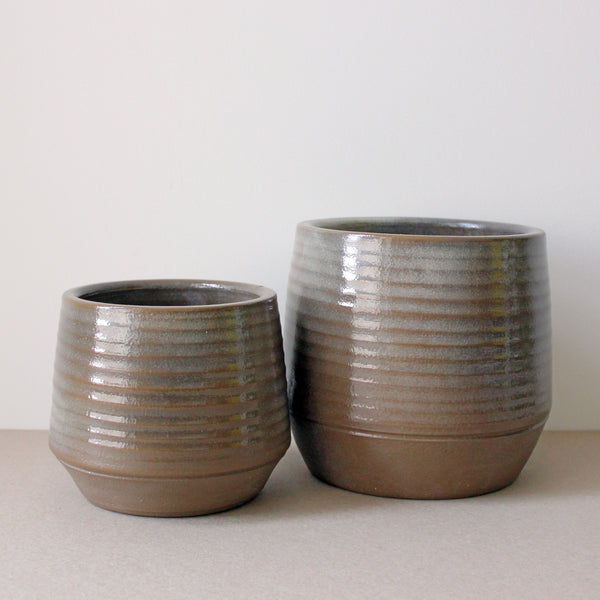 Concentric Brown Pot Small