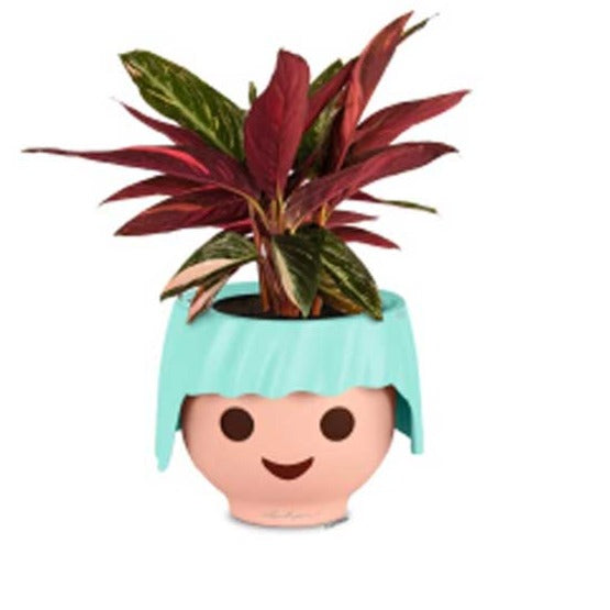 Plant Head Pot in Turquoise | Self-Watering Playmobil Head Pot