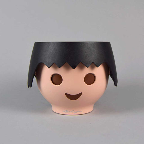 Plant Head Pot in Raven Black | Self-Watering Playmobil Head Pot