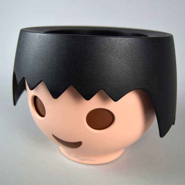 Black Plant Head Pot & Plant | Self-Watering Playmobil Head Pot in Raven Black with Plant