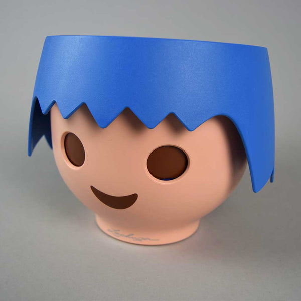 Blue Plant Head Pot & Plant | Self-Watering Playmobil Head Pot in Ocean Blue with Plant