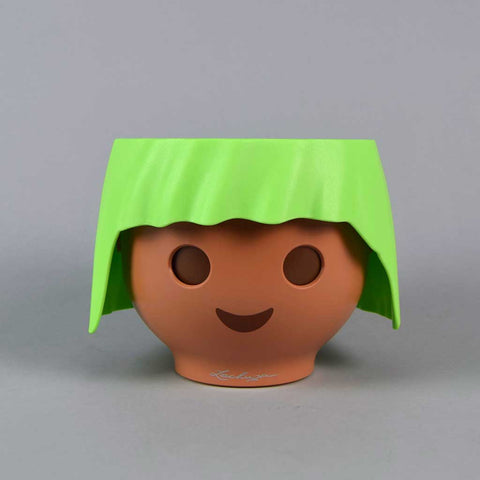 Plant Head Pot in Apple Green | Self-Watering Playmobil Head Pot