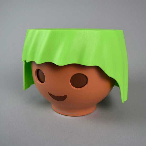 Green Plant Head Pot & Plant | Self-Watering Playmobil Head Pot in Apple Green with Plant