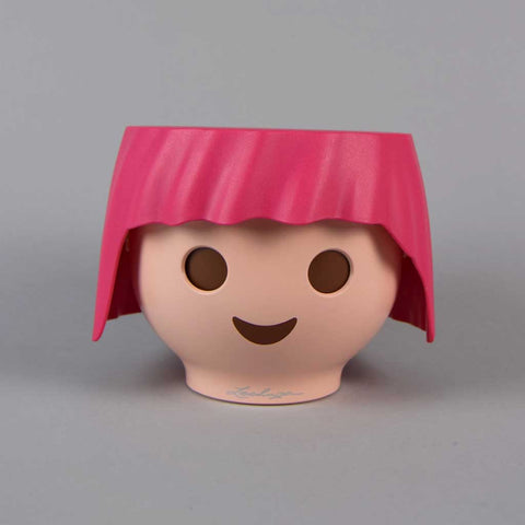 Plant Head Pot in Ruby Pink | Self-Watering Playmobil Head Pot