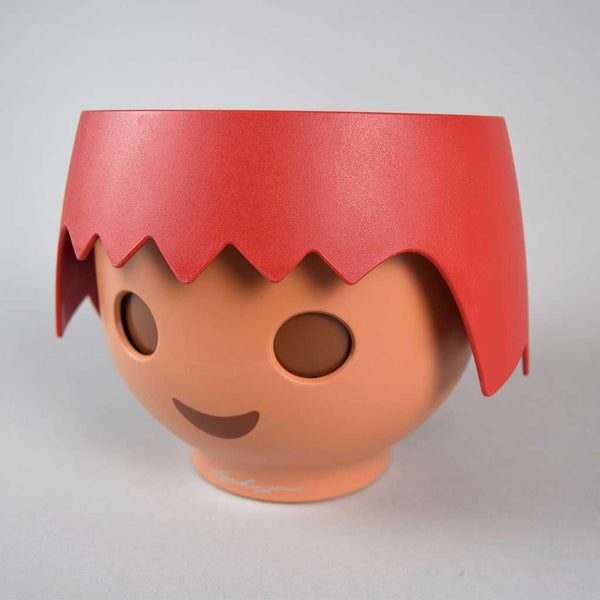 Red Plant Head Pot & Plant | Self-Watering Playmobil Head Pot in Fire Red with Plant