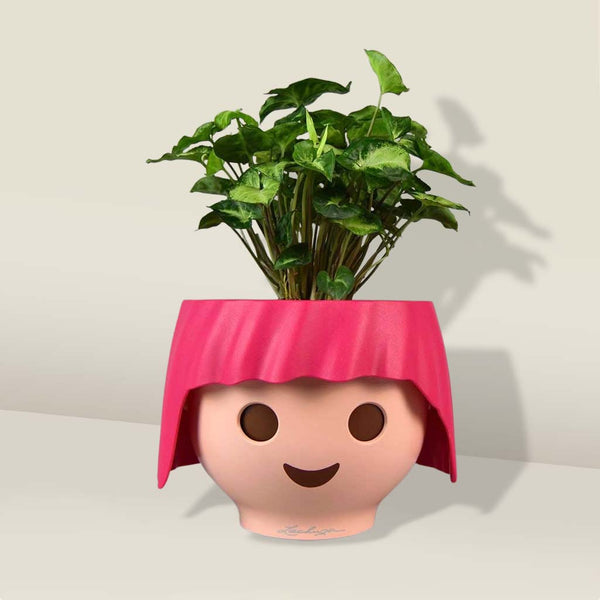 Pink Plant Head Pot & Plant | Self-Watering Playmobil Head Pot in Ruby Pink with Plant