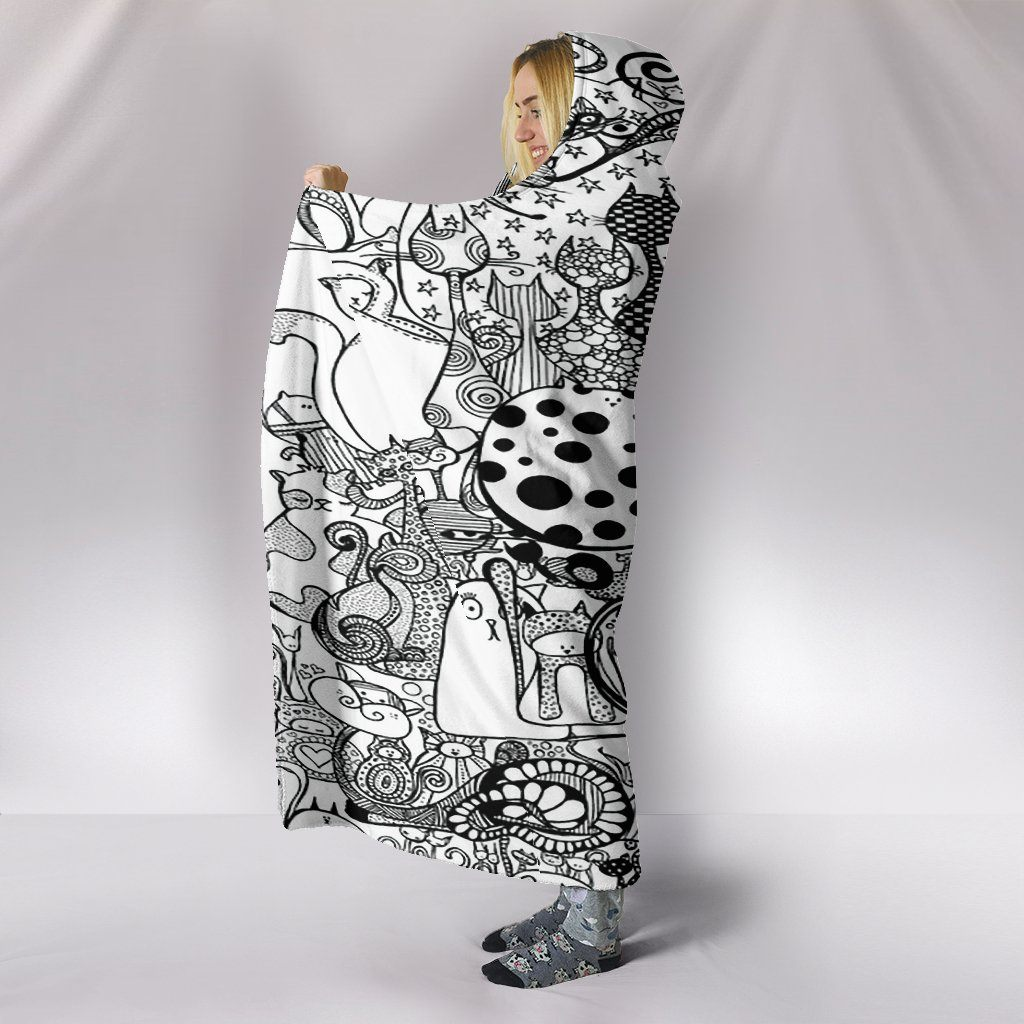 Black And White Cats Hooded Blanket