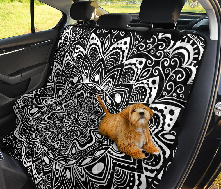 Black And White Mandala Pet Seat Covers