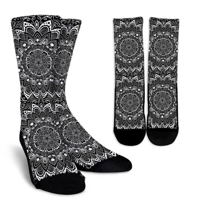 Black And White Mandala Socks