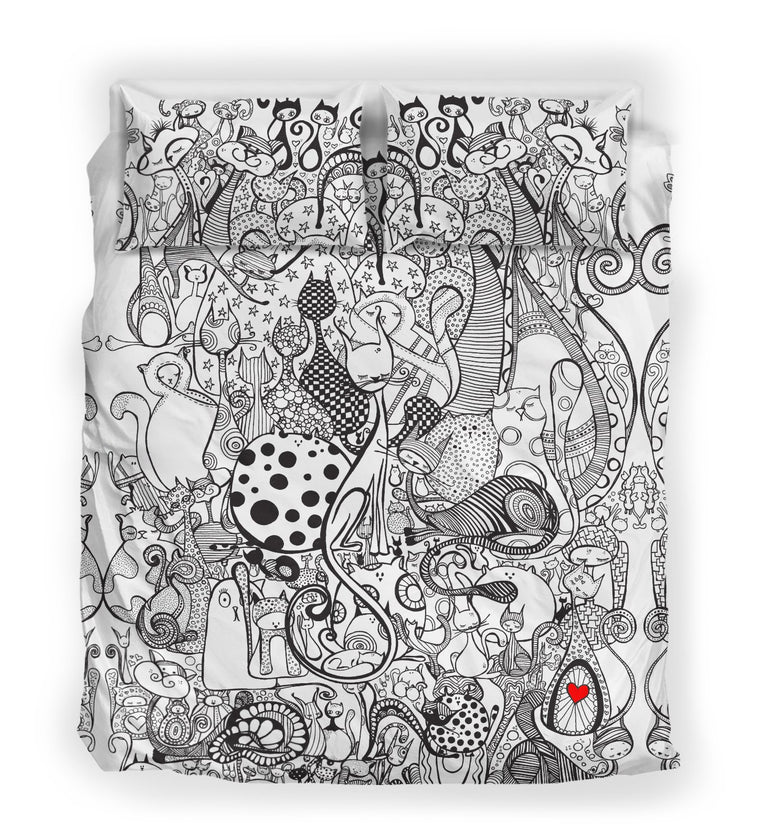 Black & White Cats Bedding Set- Duvet covers- queen size