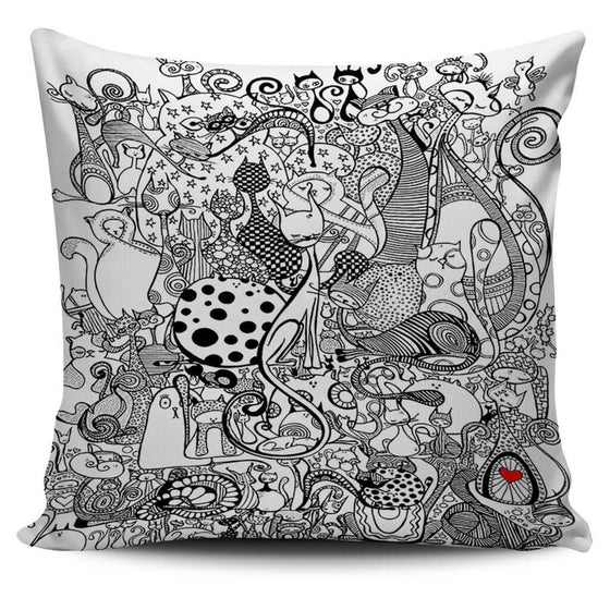 Black & White Cats Pillow Cover