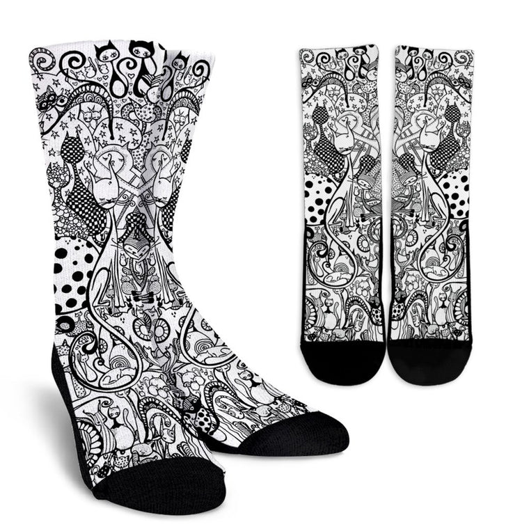 Black & White Cats Socks