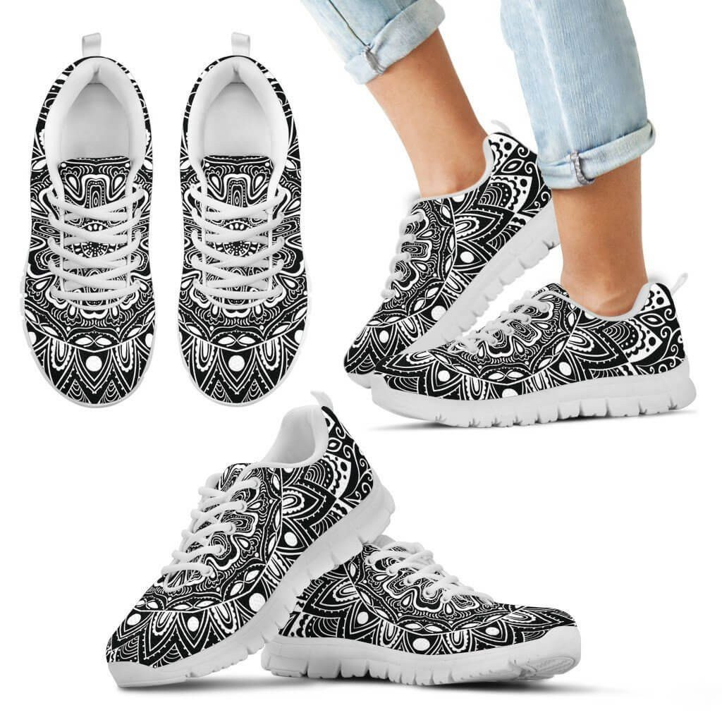 Black & White Mandala Kid's Sneakers