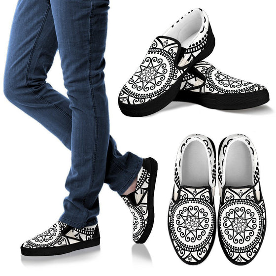 Black & White Mandala- Men Slip Ons