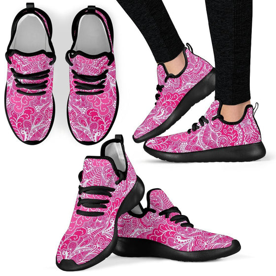 Calm In Pink Mesh Knit Sneakers