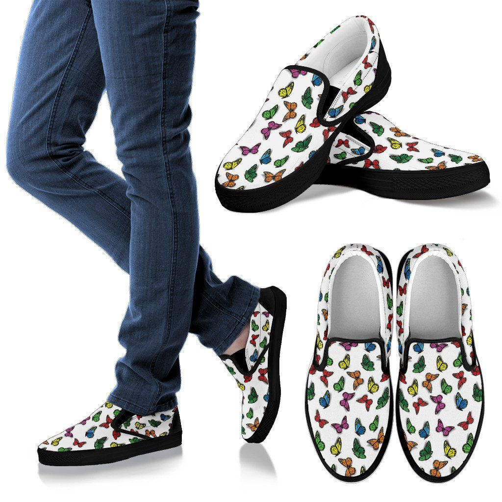 Colorful Butterfly White Slip Ons