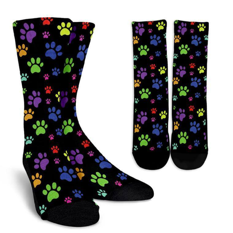 Colorful Paws Black Socks