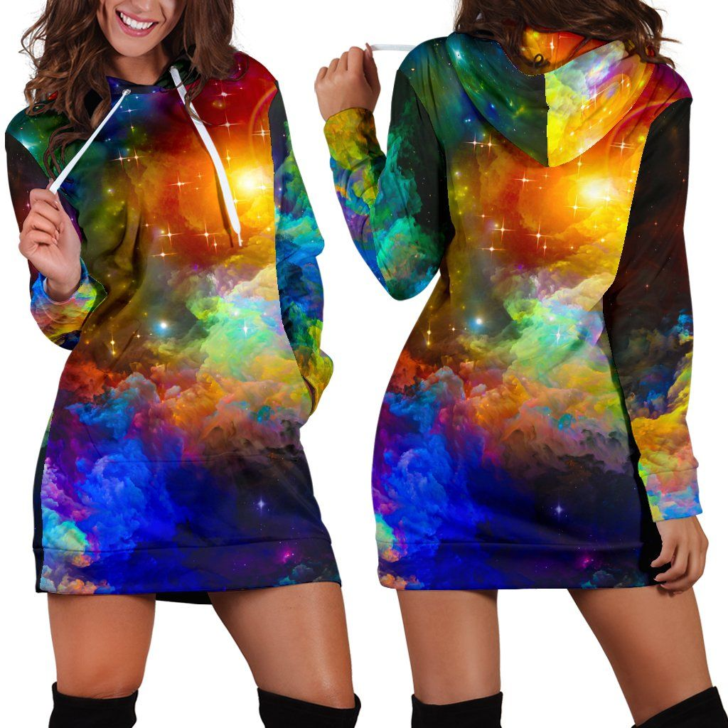 Colorful Universe Hoodie Dress