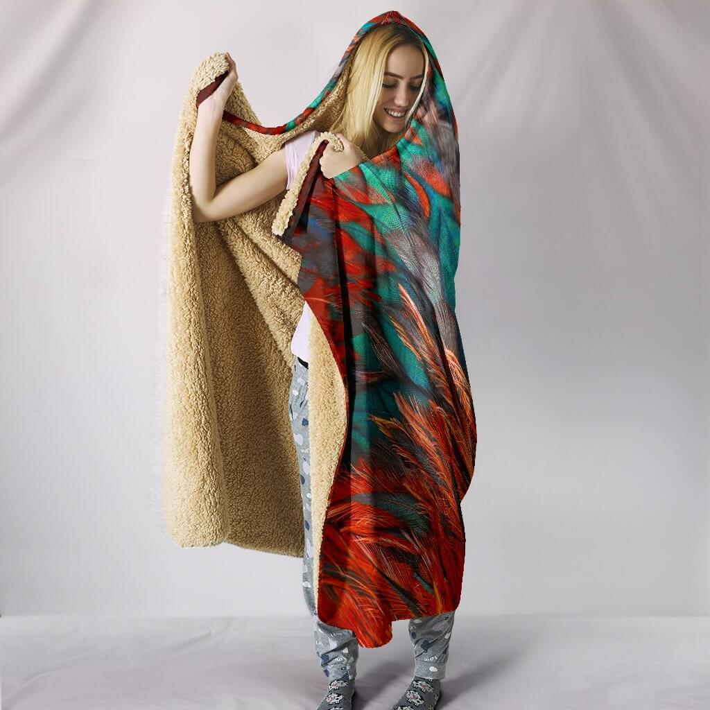 Flame Feathers Hooded Blanket