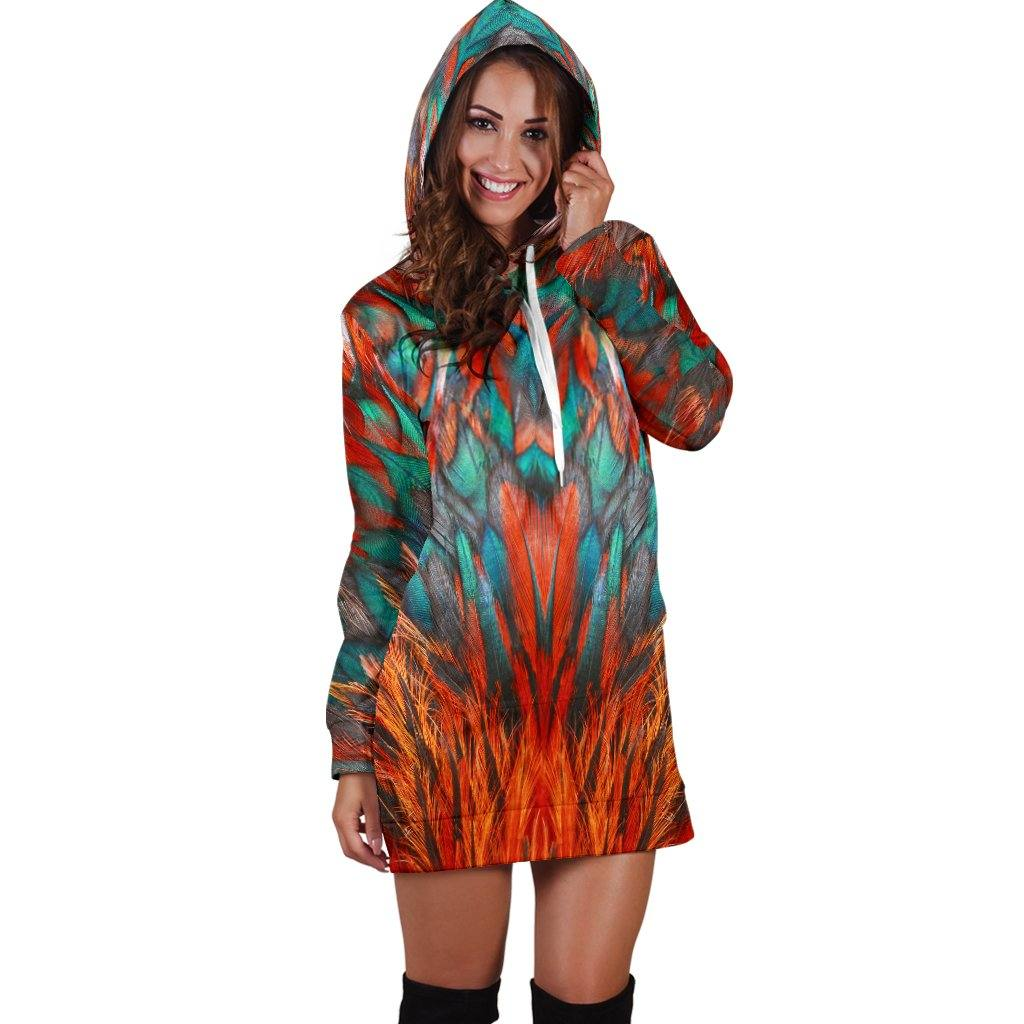 Flame Feathers Hoodie Dress