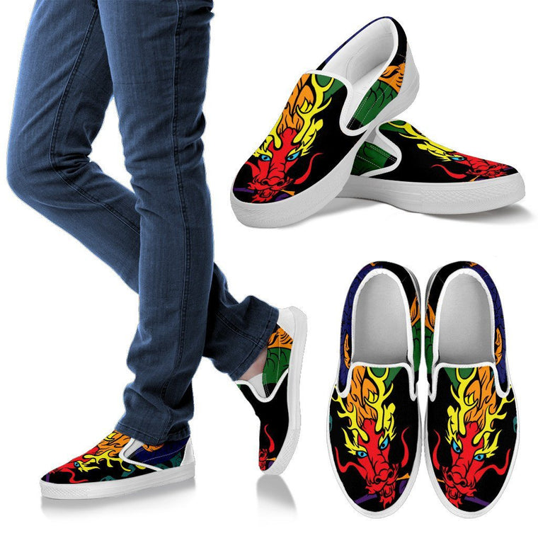 Flaming Dragon- Men Slip Ons