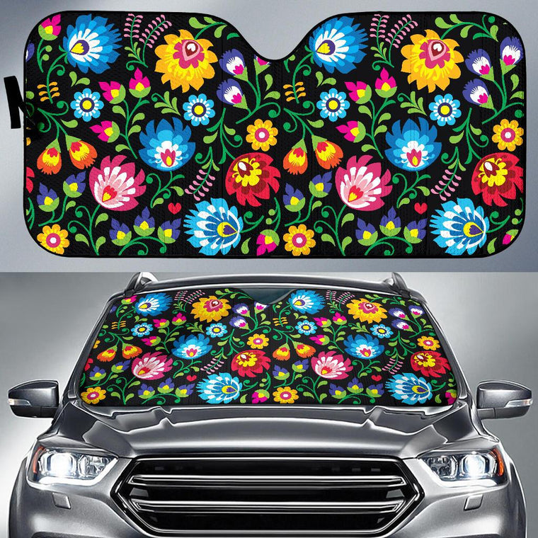 Floral Day Auto Sun Shade