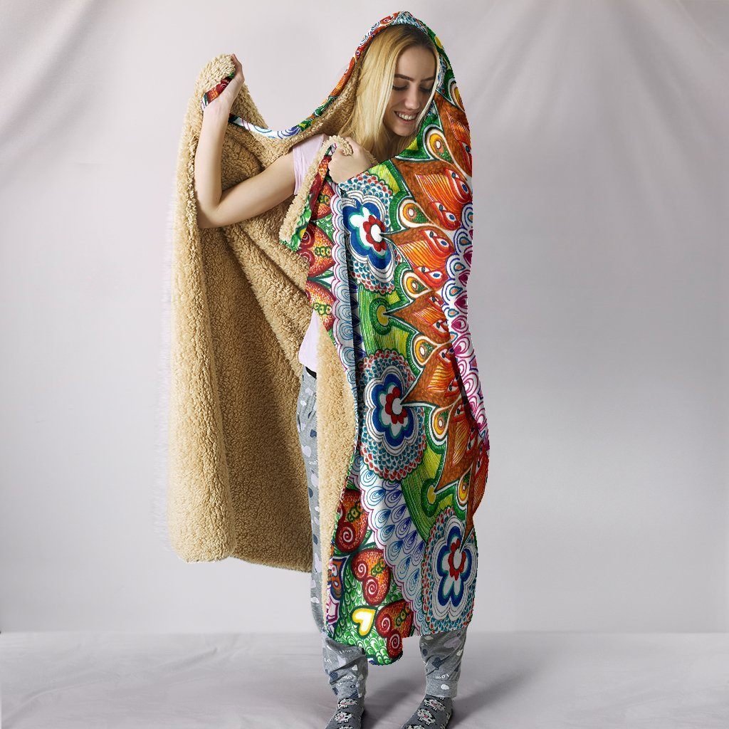 Flowers Mandala Hooded Blanket