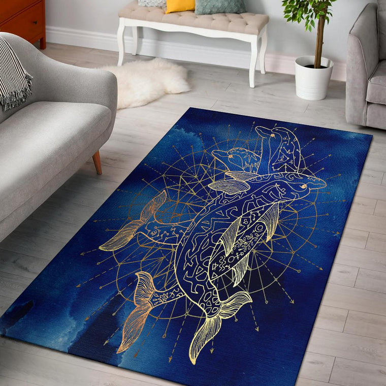 Golden Dolphin Area Rug