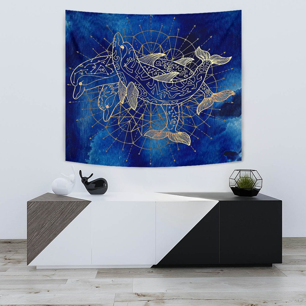 Golden Dolphins Wall Tapestry