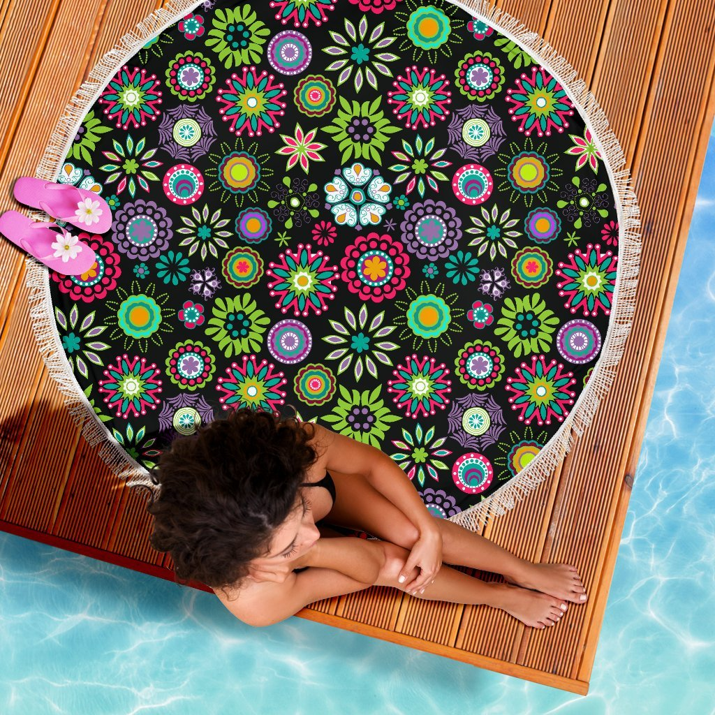 Happy Flowers Beach Blanket