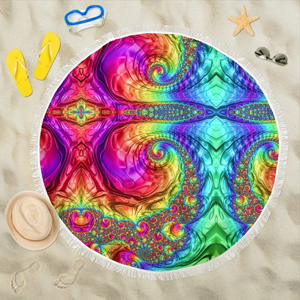 Happy Rainbow Beach Blanket