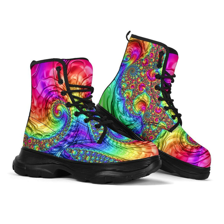 Happy Rainbow Chunky Boots