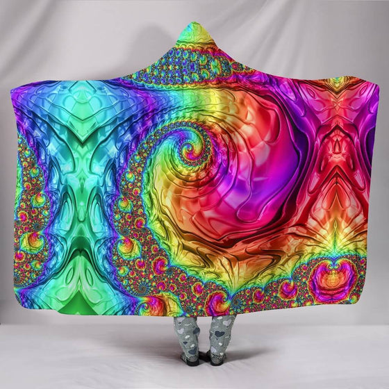 Happy Rainbow Hooded Blanket