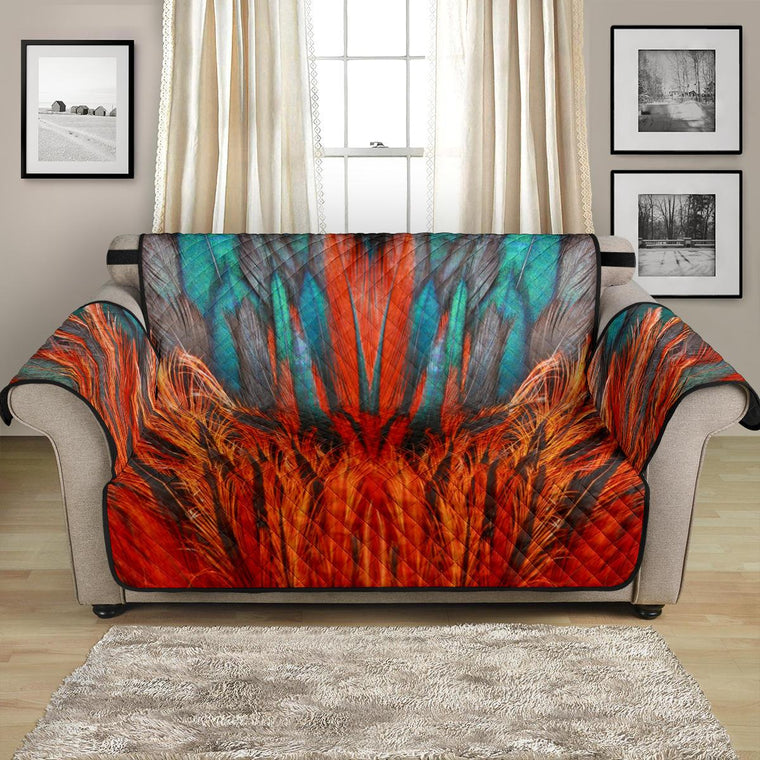 Home Decor - Flame Feathers Loveseat Sofa Cover