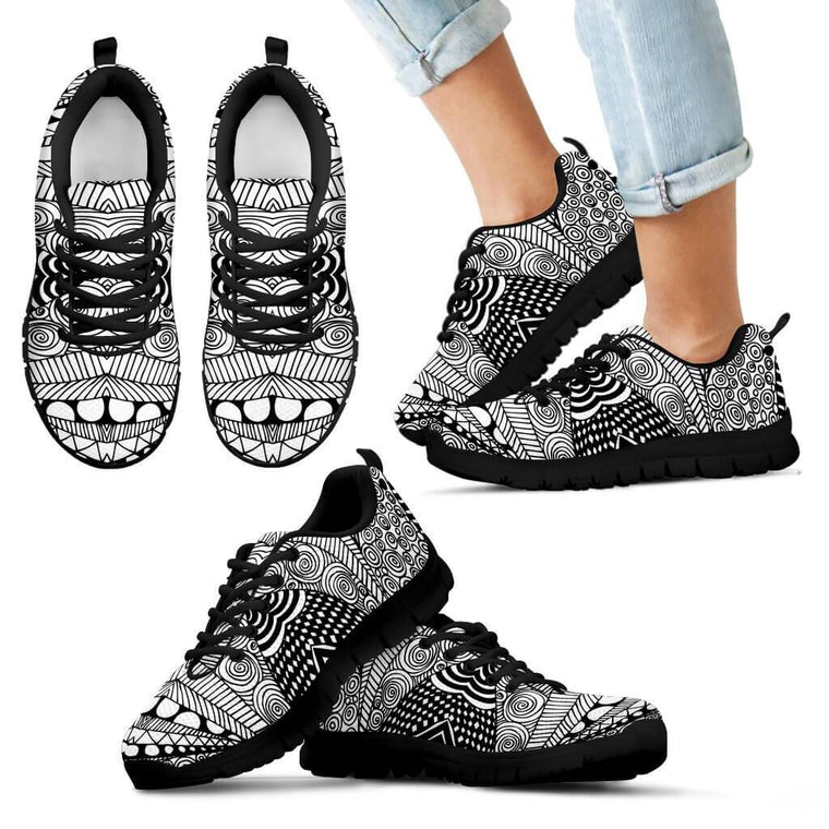 Kids Sneaker - Black & White Shape Kid's Sneakers