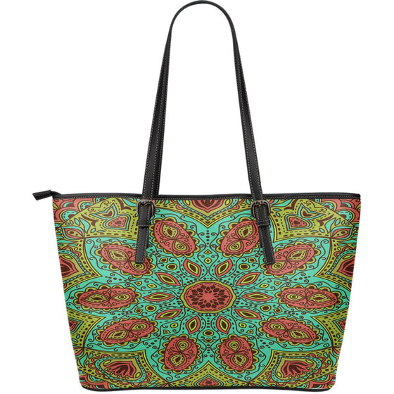 Leather Tote - Beautiful Mandala  PU Leather Tote