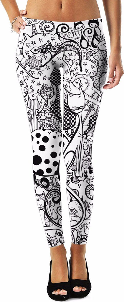 Leggings - Black & White Cats Leggings