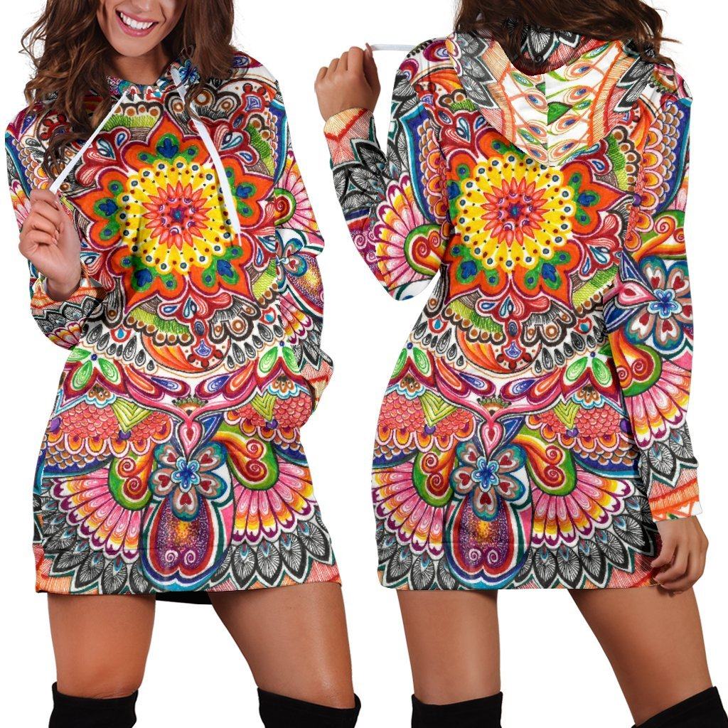 Life With Colors Mandala Hoodie Dress