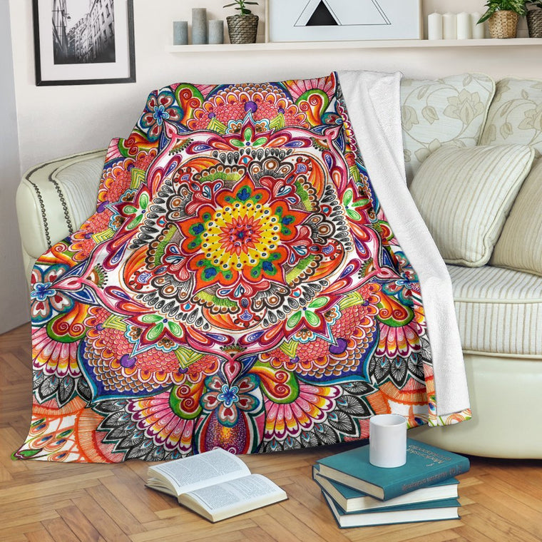 Life With Colors Mandala Premium Blanket