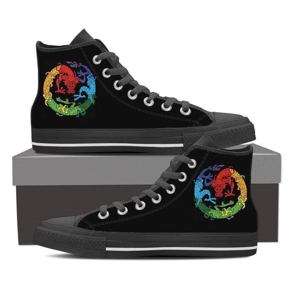 Mens High Top Shoes - Rainbow Dragon Men's High Top Shoes