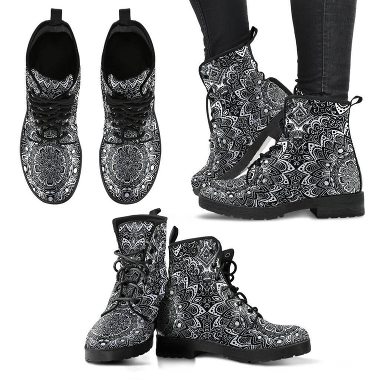 New Women Boots - Black & White Mandala Boots