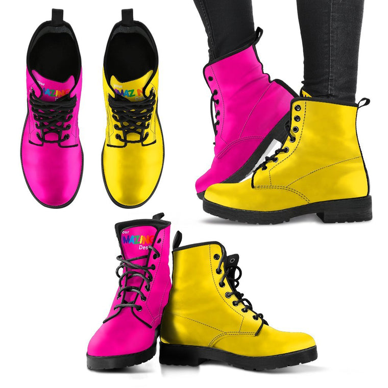 Pink And Yellow Boots