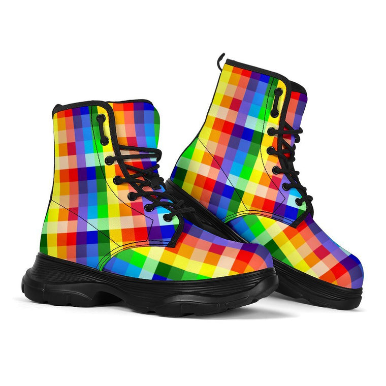 Rainbow Chess Chunky Boots