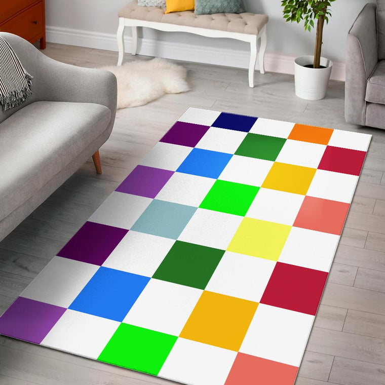 Rainbow Chessboard Area Rug