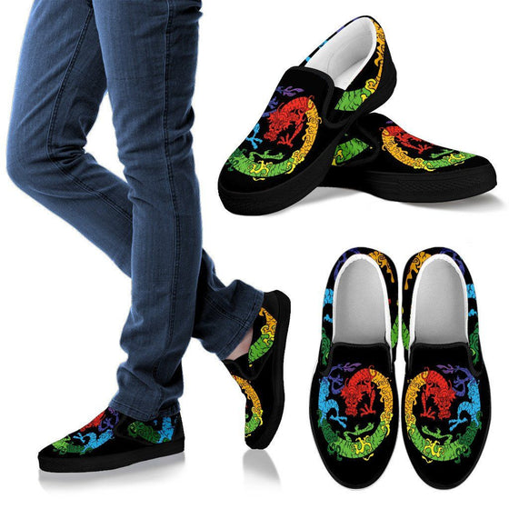 Rainbow Dragon- Men Slip Ons