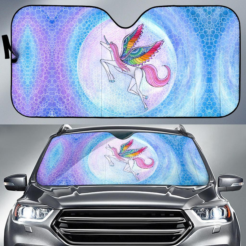 Rainbow Unicorn Auto Sun Shade
